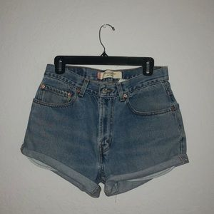 Levi's 505 recycled shorts from urban outfitters.